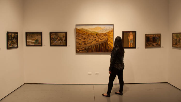 Attendants at the gallery could view a variety  of painintgs depicting the Armenian Genocide. (The Sundial Photo/ Manny Araujo)