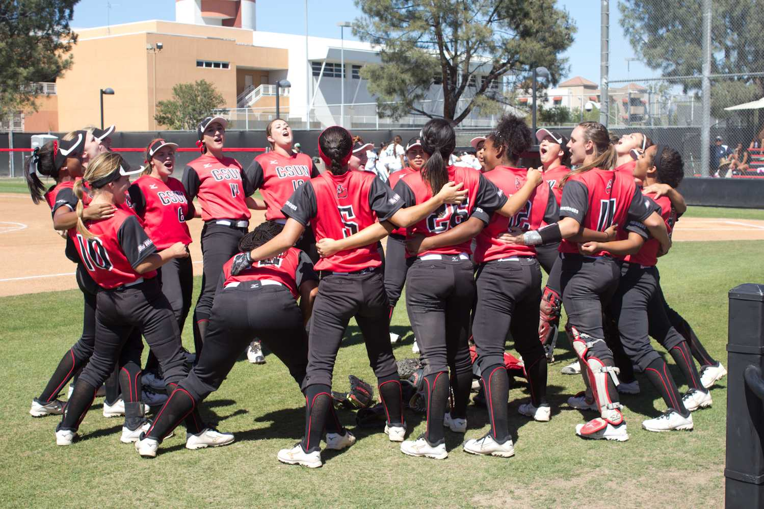 The CSUN Softball team celebrates after winning a share of the Big West Tournament after splitting the series against the University of Hawai'i. Allen Natian/Contributor