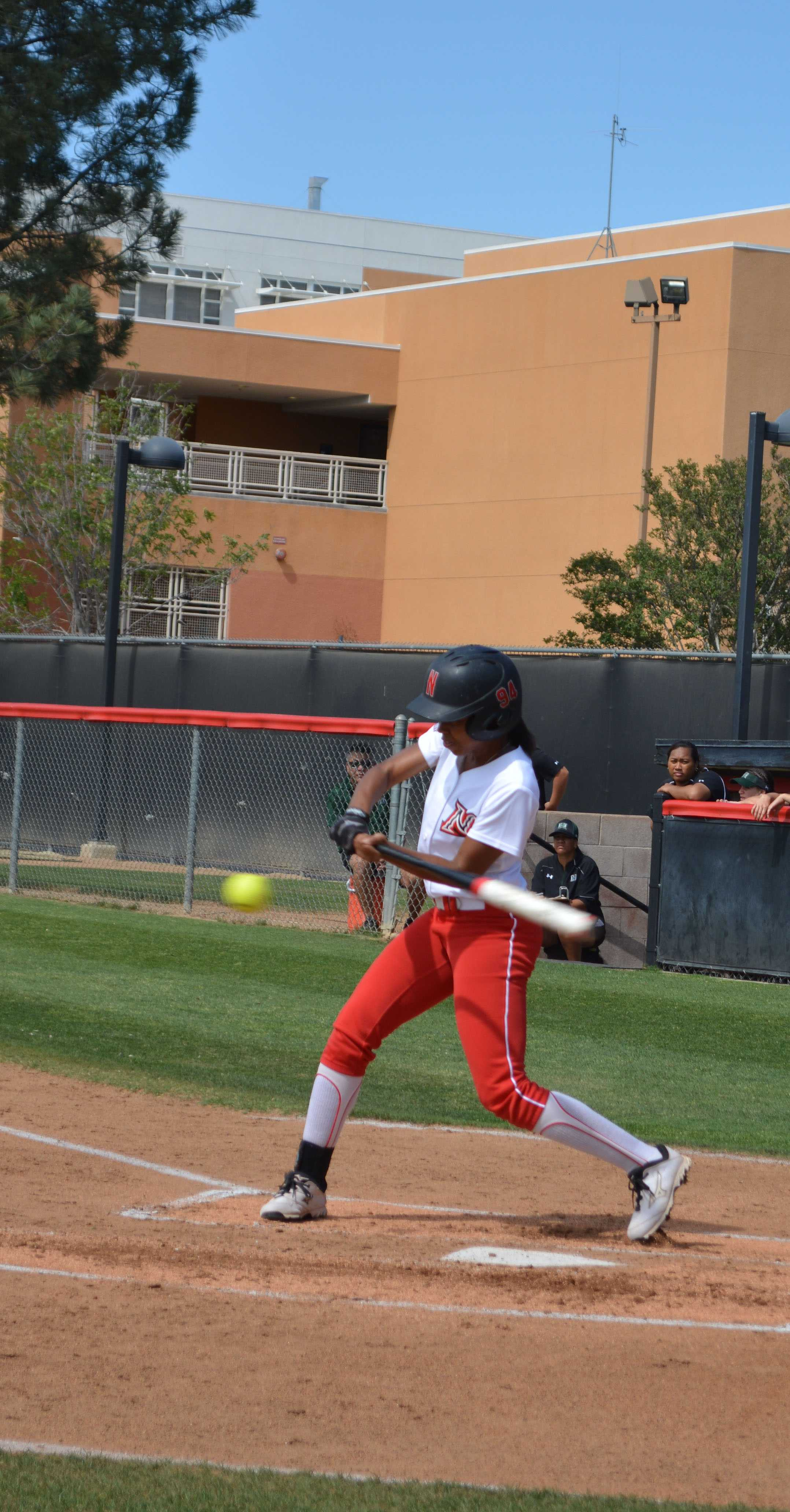 CSUN+Sophmore+Taylor+Glover+swings+at+the+ball.+Emily+Pierce%2FContributor