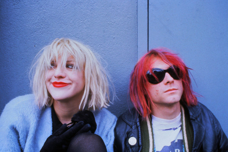 Courtney Love and Kurt Cobain in 1992. (Dora Handel/CORBIS/HBO)