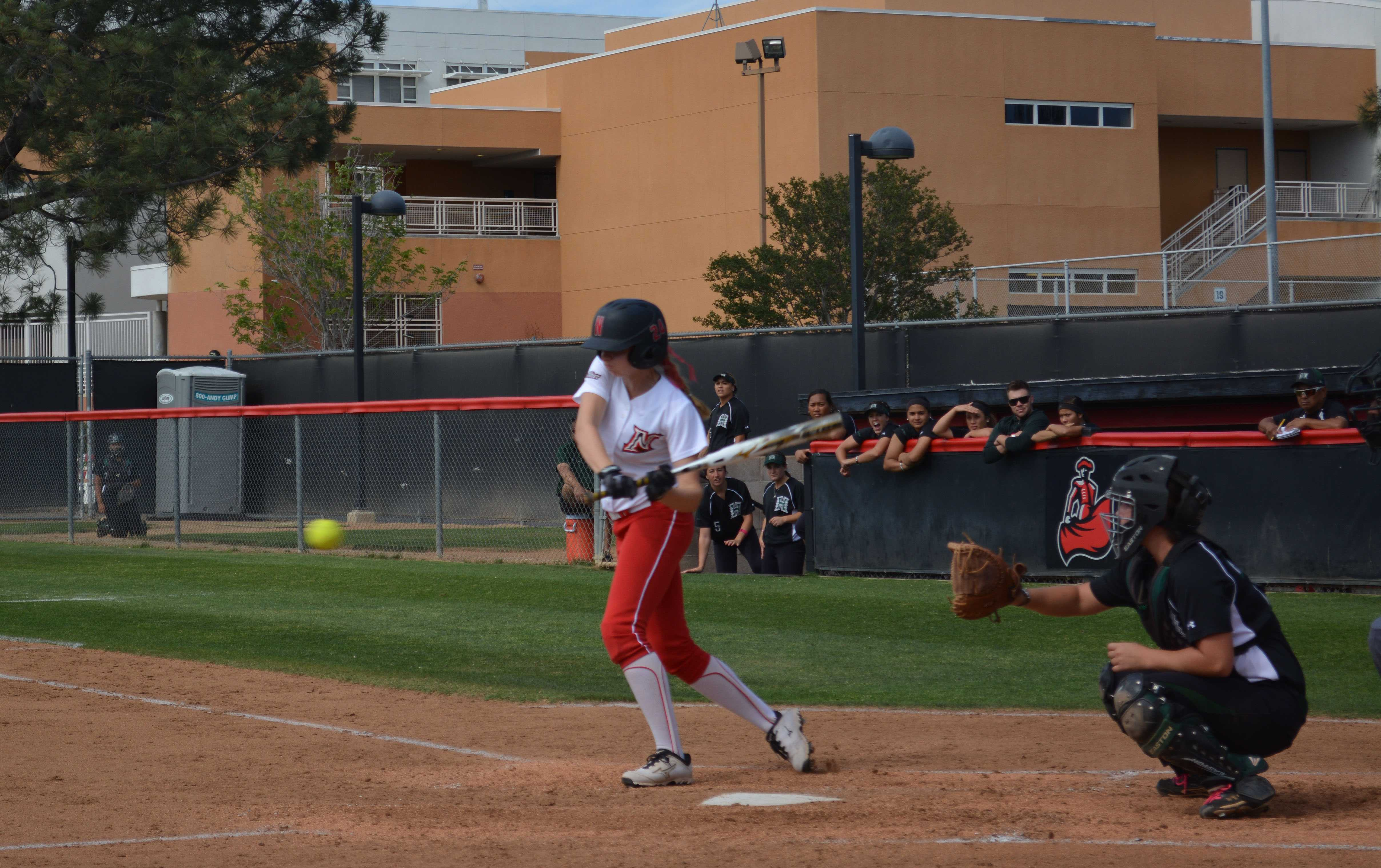 CSUN+Senior+Kaitlin+Toerner+prepares+to+bunt+an+incoming+ball.+Emily+Pierce%2FContributor