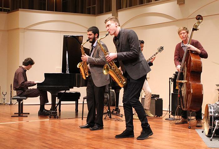 CSUN+jazz+band+members+play+at+the+senior+recital+in+Cypress+Hall.+From+left%3B+Adam+Hersh%2C+Shai+Golan%2C+Evan+Walmire%2C+Andy+McCauley.+%28Leni+Maiai+%2F+Contributor%29