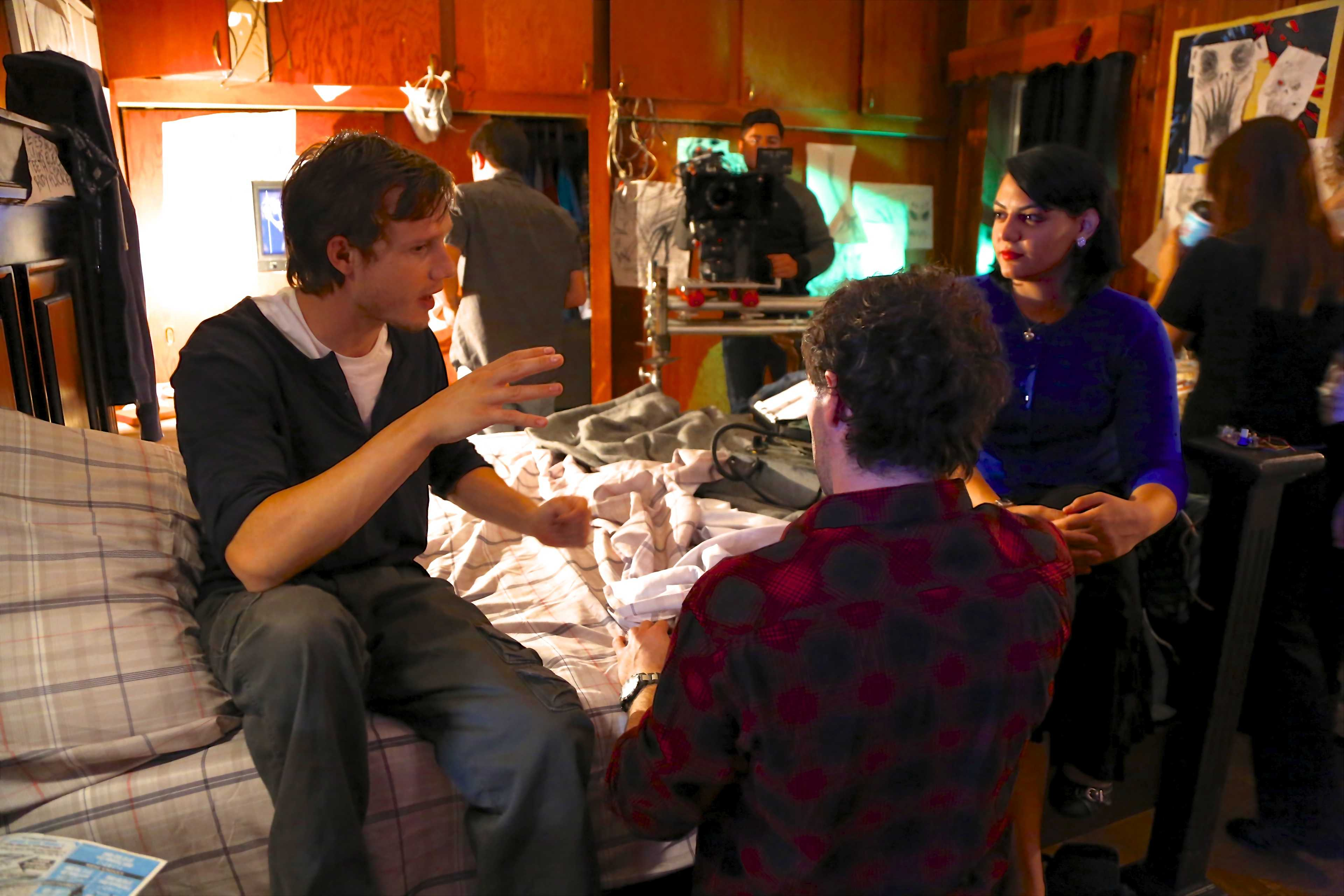 Sahar El-Ghali working on set with the main actors David A. Jørgensen and Joseph Barone.