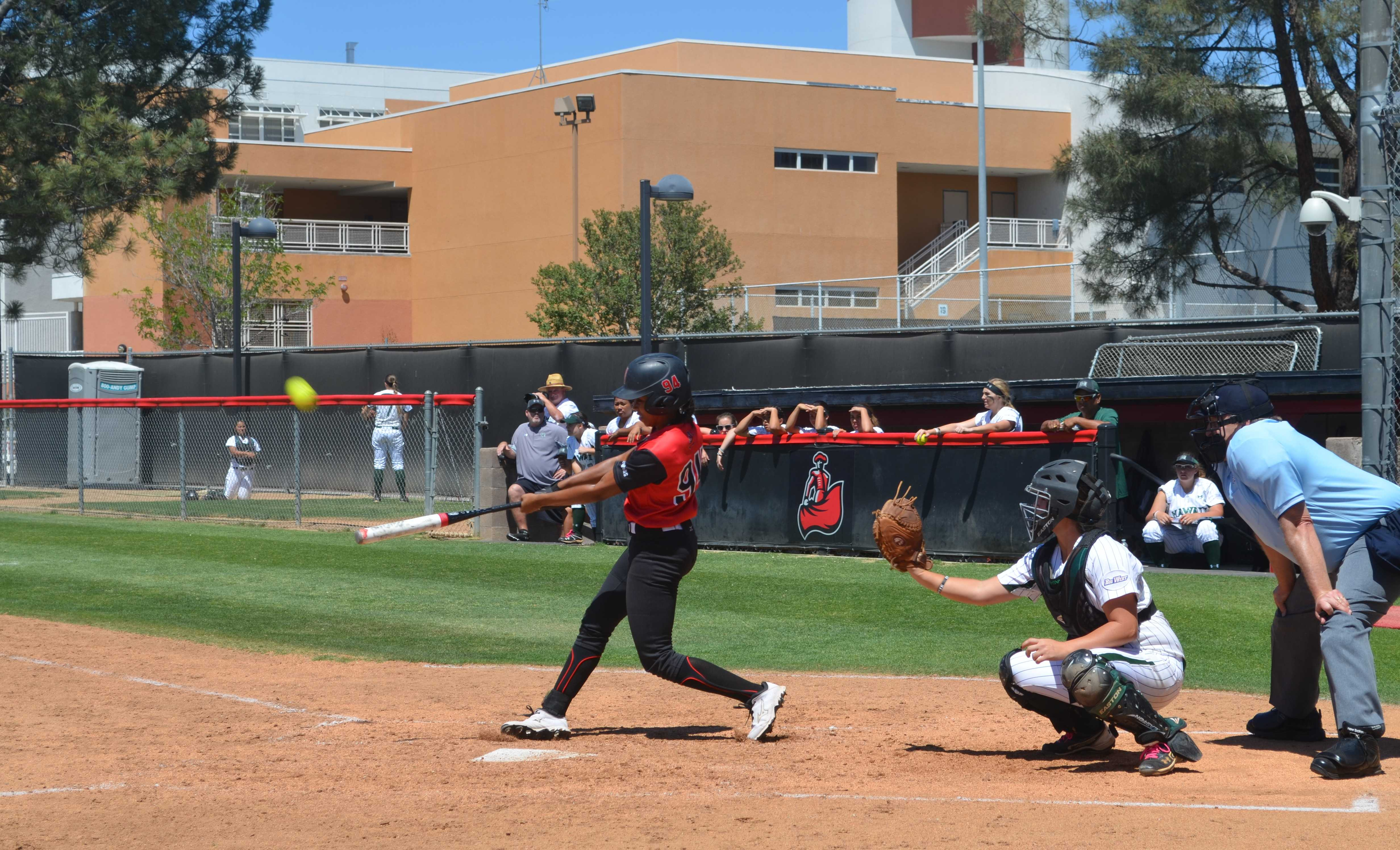Junior Taylor Glover was three-for-four in the first game of CSUN's double header on Friday, Feb. 19, 2016. They lost the first game to Weber State, but won the second against Portland State. (File Photo / The Sundial)