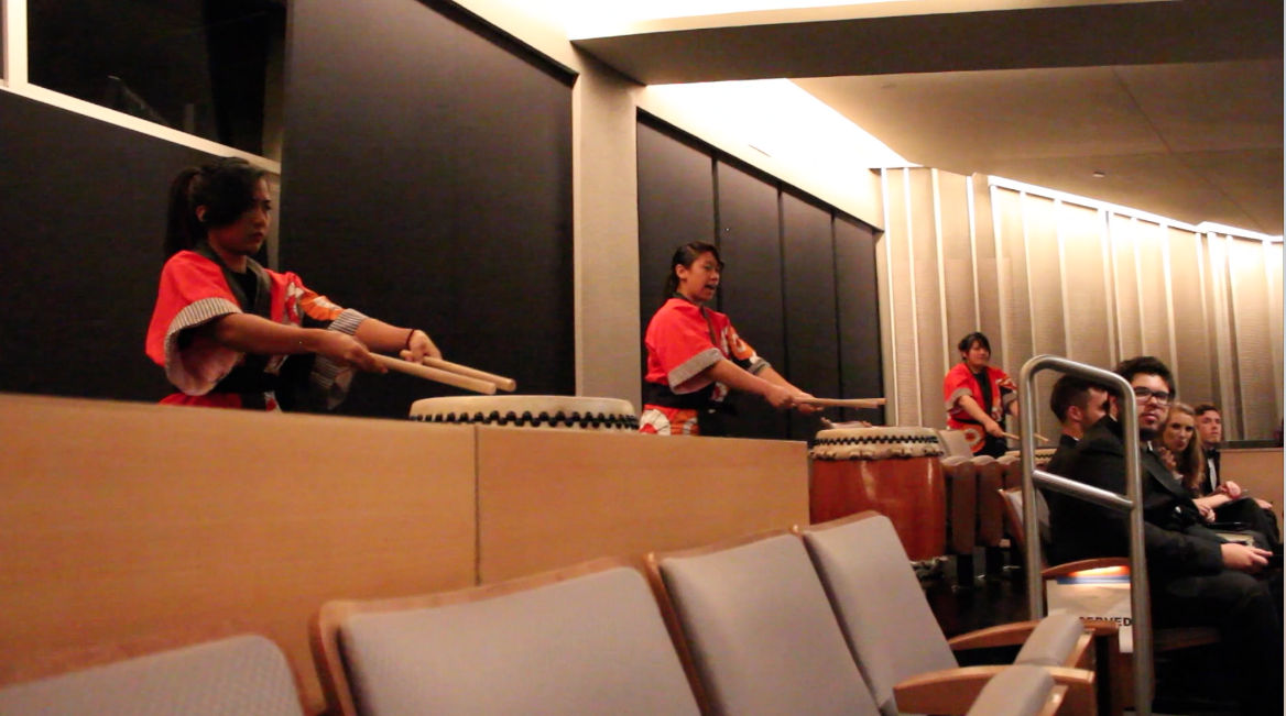 Three drum players performing during CSUN