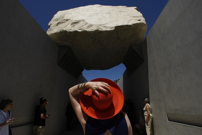 Alisa+Katz+seems+amazed+with+artist+Michael+Heizer%27s%2C+%22Levitated+Mass%2C%22+which+opened+to+the+public+at+the+Los+Angeles+County+Museum+of+Art+on+June+24%2C+2012%2C+in+Los+Angeles%2C+California.+%28Genaro+Molina%2FLos+Angeles+Times%2FMCT%29