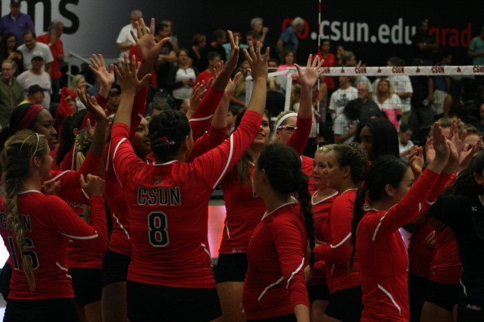 CSUN+volleyball+celebrates+their+3-1+win+against+UC+Davis+at+the+Matadome+on+Sat.%2C+Sept.+28.+%28Leni+Maiai+%2F+The+Sundial%29