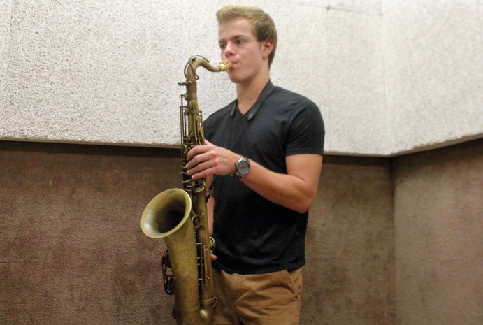 Jordan Leicht has made CSUN his second home, finding the support he needs among his fellow jazz musicians. Photo credit: Yocasta Arias