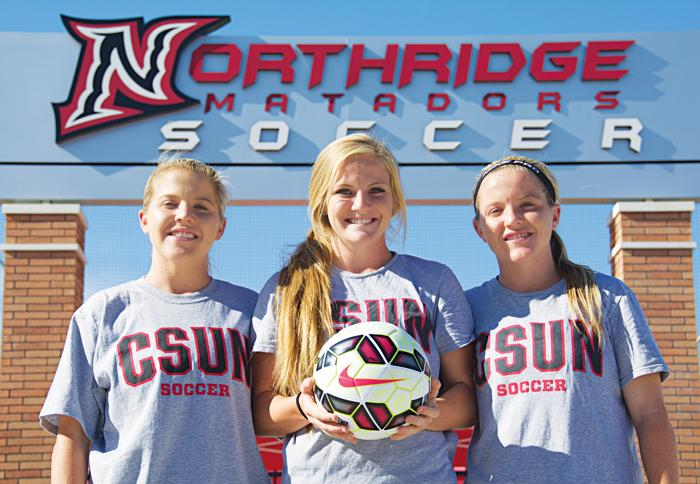 Krystal, Lindsay, and Kourtney Kutscher will all be playing for the same university for the first time this coming season. Linsay has entered CSUN as a freshman joining Krystal, a CSULA transfer, come together with her twin sister Kourtney who has played at CSUN all throughout her college career. (Raul Martinez/ The Sunidal) Photo credit: Raul Martinez