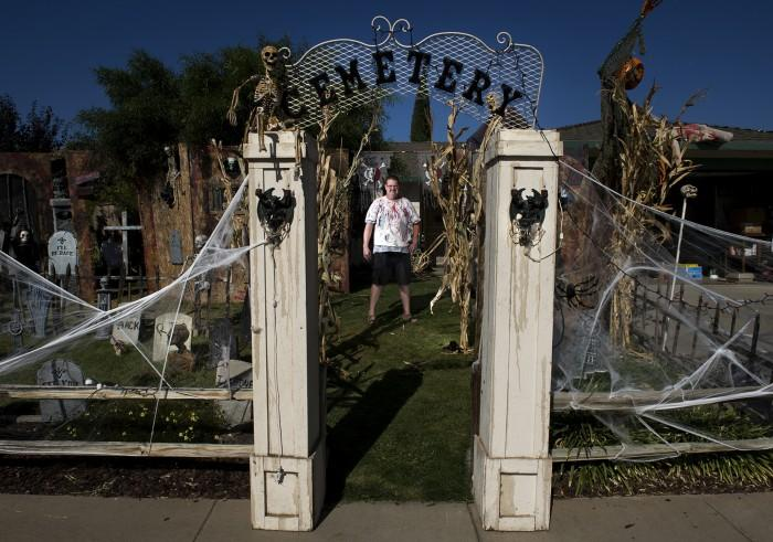 Dwayne Boulter of Solida, California shows off his Halloween decorations that he participates in every year.