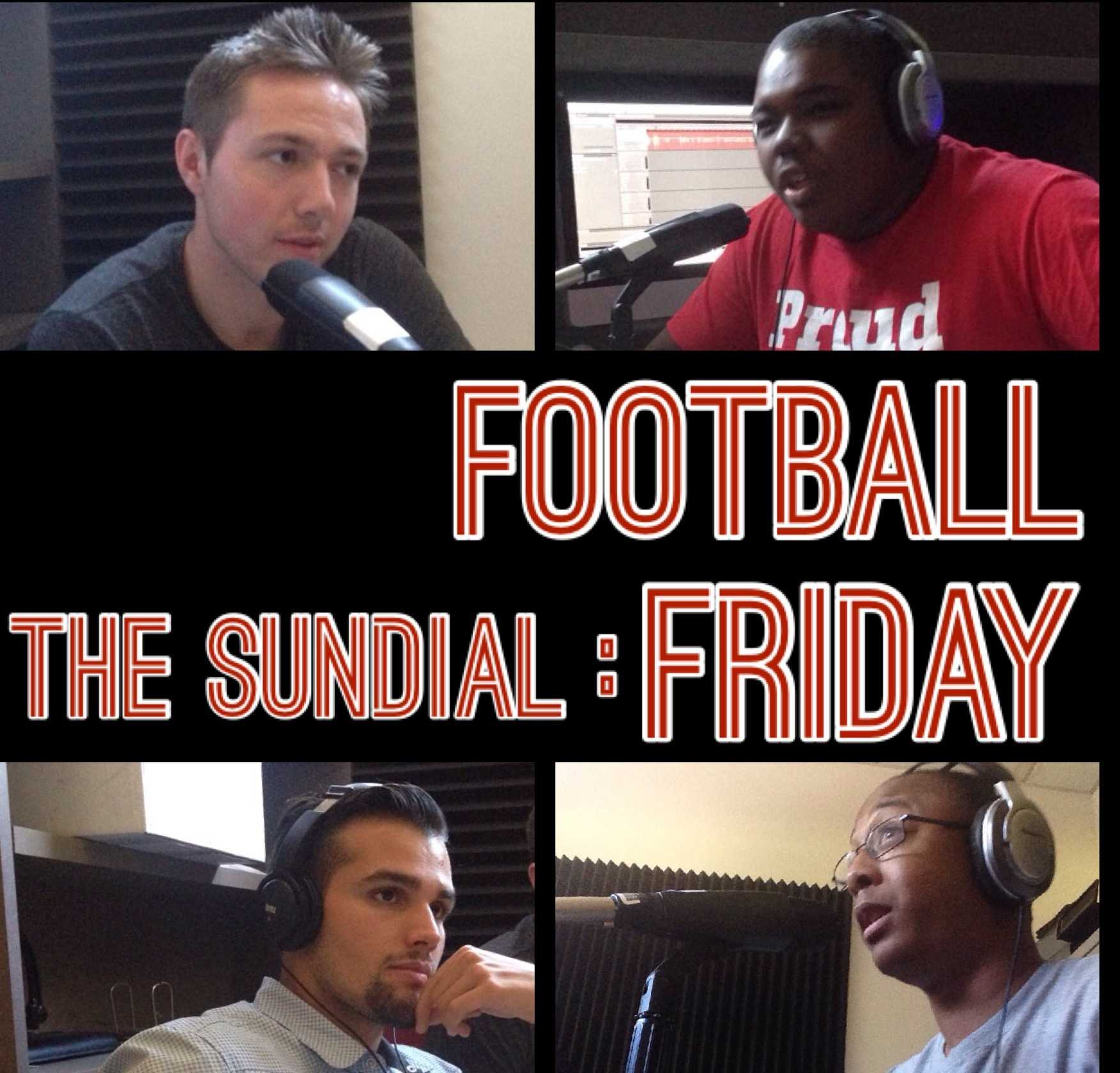 Four podcasters hosting The Sundial: Football Friday.