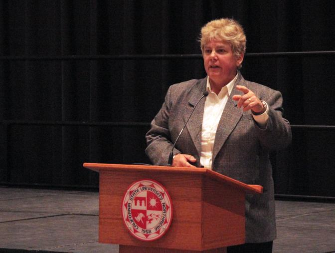 Police Chief Anne P. Galvin answers questions about sexual assaults at the CSUN Town Hall Meeting on Thursday, Oct. 22, 2015. (Betsy Belle Camacho/ The Sundial)