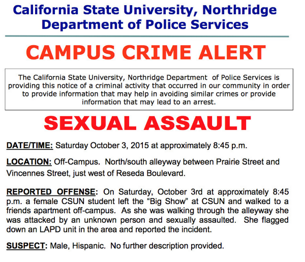 Campus Crime Alert: Sexual Assault