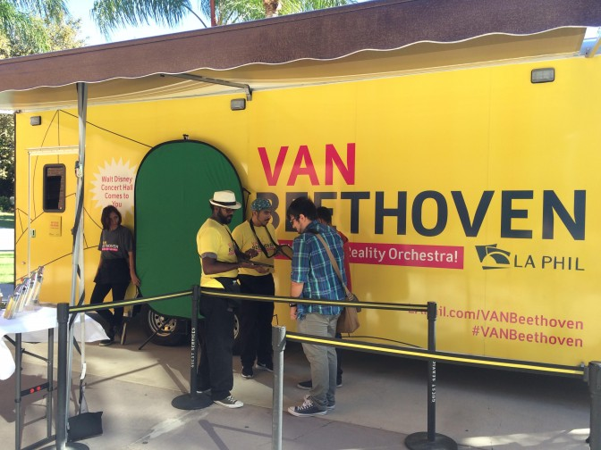 Students signup to participate in the Van Beethoven virtual reality experience in front of the Matador Bookstore.