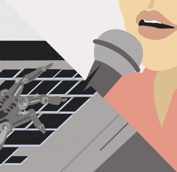 An two-part Illustration depicting a robotic hand typing on a computer. The other end side of the illustration depicts someone speaking into a microphone.