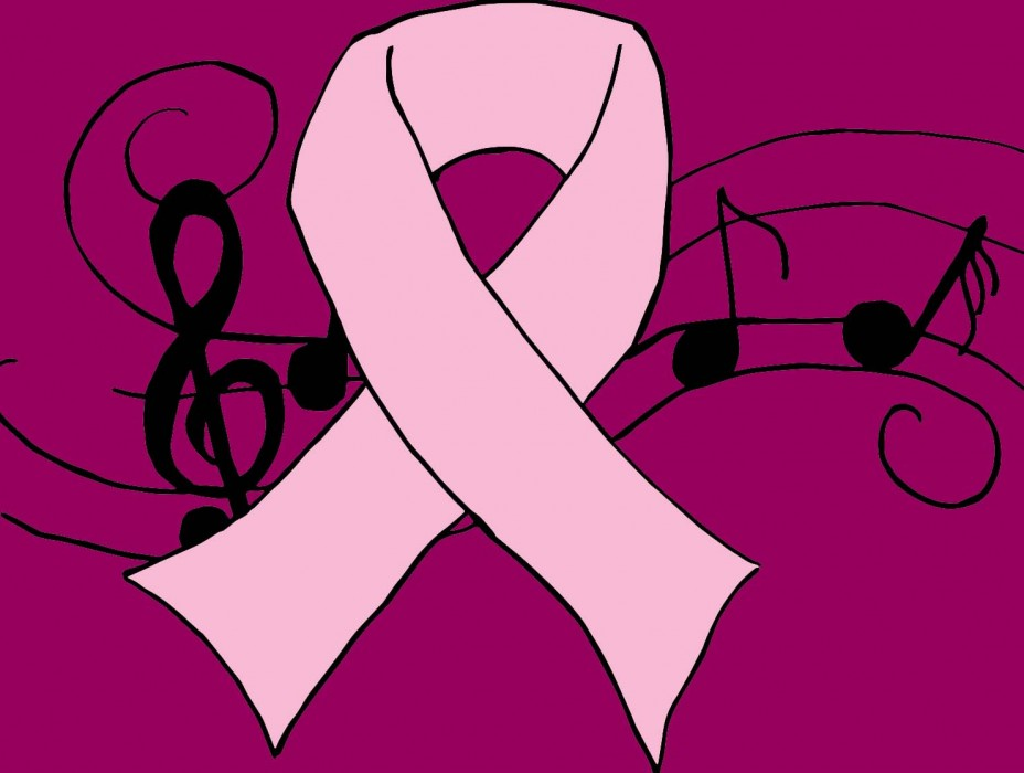 A pink ribbon on top of a background of music notes. Illustration for Breast Cancer Awareness.