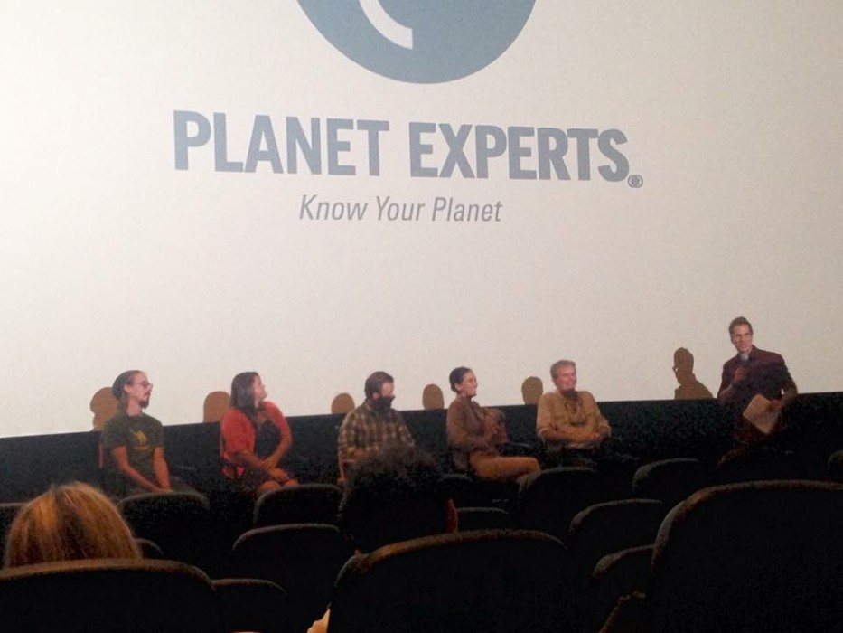 5 members of Psihoyos crew get interviewed on a panel.