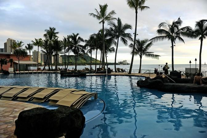 A resort-style pool nestled between the Royal Hawaiian hotel and its sister property, the Sheraton Waikiki in Oahu, Hawaii. (Cindy Yamanaka/Orange County Register/MCT)
