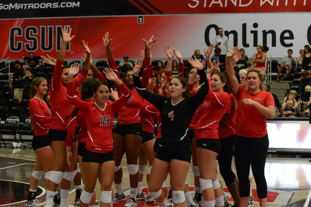 The Matadors celebrate a Sept. 26 victory against UC Davis. They were able to do the same in the final home game of the year against UC Riverside on Friday. Photo credit: Alejandro Aranda