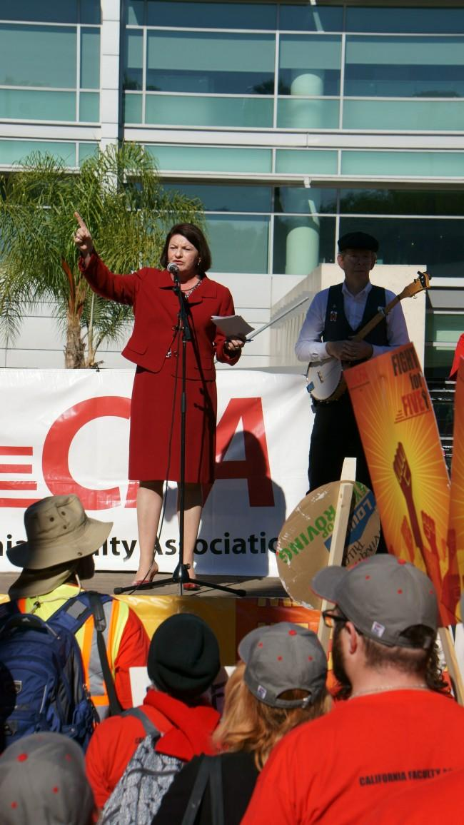 California State Assembly Speaker Toni Atkins addresses the crowd at Tuesday's CFA demonstration in Long Beach. Nov. 17, 2015. Photo Credit: Nicollette Ashtiani