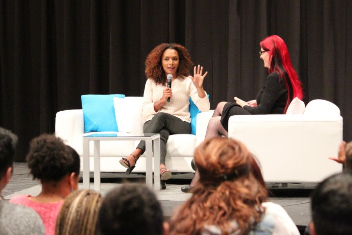 Author and transgender rights activist Janet Mock speaks on her experience and identity as a trans woman of color in the Northridge Center as part of Trans Week Awareness at CSUN on Nov. 16. (Christian Beltran / The Sundial)