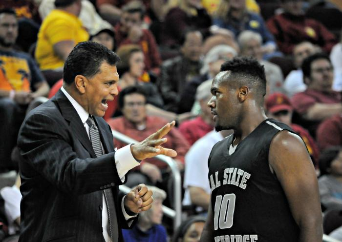CSUN men's basketball head coach Reggie Theus instructs freshman guard Jason Richardson as the Matadors faced the USC Trojans at the Galen Center on Nov. 23. CSUN lost 96-61 in its fifth non-conference game. Richardson would end the game with a team-high 18 points. (File Photo / The Sundial)
