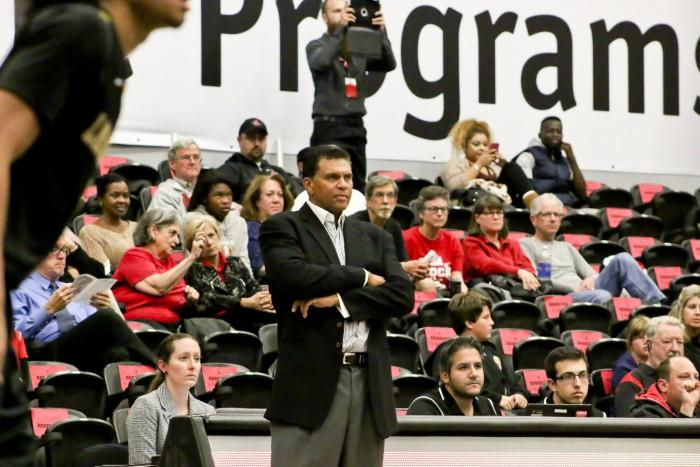 CSUN+men%27s+basketball+head+coach+Reggie+Theus+has+had+to+reconfigure+his+roster+due+to+violations+and+investigations+over+the+past+year.+%28File+Photo%2FJuan+Pardo%2FThe+Sundial%29