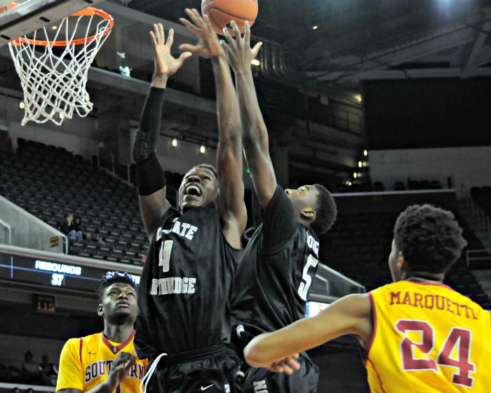 CSUN players fight for the rebound against USC defenders as the Matadors faced the USC Trojans at the Galen Center on Nov. 23. CSUN lost 96-61 in its fifth non-conference game. File Photo/The Sundial