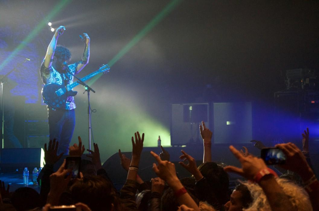 Foals front-man Yannis Philappakis performing during his band's show at the Wiltern on Nov. 29.