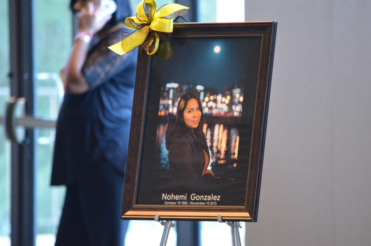 A portraint of 23 year-old Nohemi Gonzalez on display at Cal State Long Beach.