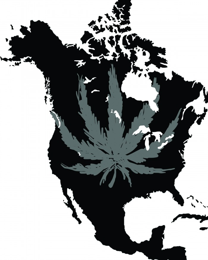 Illustration of a map of the United States of America' colored in all black with a gray Marijuana leaf drawn on top of the map.