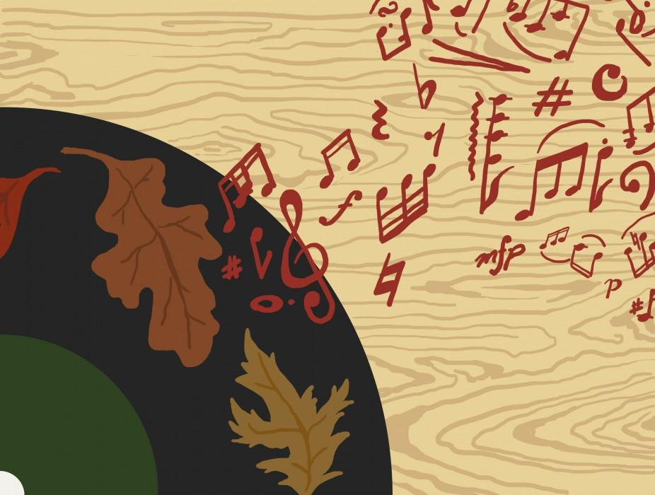Illustration of record player with leaves and musical notes coming from it.