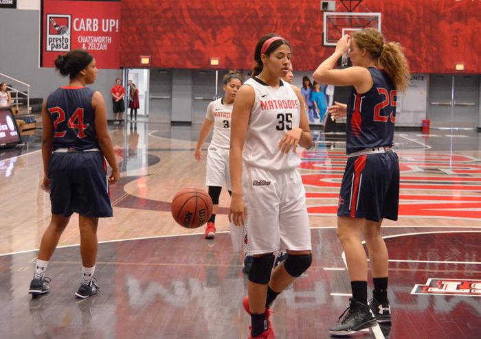 CSUN's seasons starts off with a loss to the Saint Mary's College Gaels by a final score of 59-93 at the Matadome in Northridge, Calif. on Friday, Nov. 13, 2015. The Matadors started the season with a slow first half and were unable to make a comeback. (Raul Martinez / The Sundial) Photo credit: Raul Martinez
