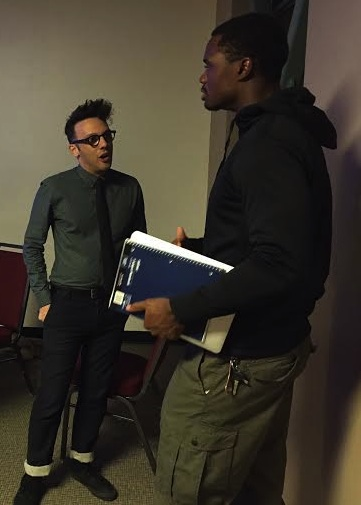 Jared Geller, right, speaks with CSUN student Brandon Ashford, left, following his presentation on collaborative production Nov. 3rd, 2015, at the USU. Photo credit: Thomas Gallegos