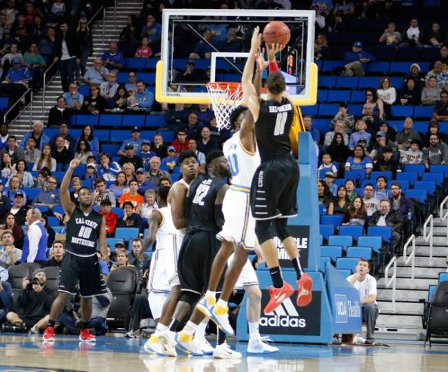 Tre Hale-Edmerson rises up for a jump shot in the Matador loss to the UCLA Bruins by a final score of 45-77 at Pauley Pavillion on Sunday Nov. 29, 2015. (Raul Martinez / The Sundial)