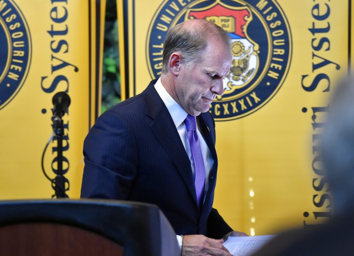 The+president+of+the+University+of+Missouri+system%2C+Tim+Wolfe%2C+steps+down+after+accusations+of+no+action+taking+place+after+numerous+counts+of+racism+on+campus.