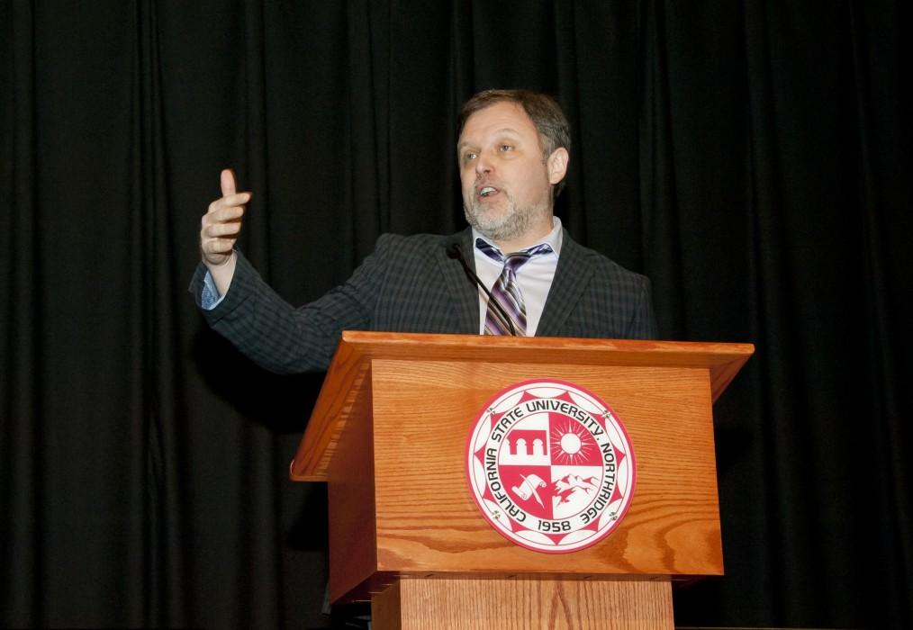 Keynote speaker Tim Wise gives a anti-racism speech to a full audience at The BUILD PODER conference in the Northridge Center on Wednesday, Dec. 2, 2015 in Northridge, Calif. (David J. Hawkins / The Sundial)