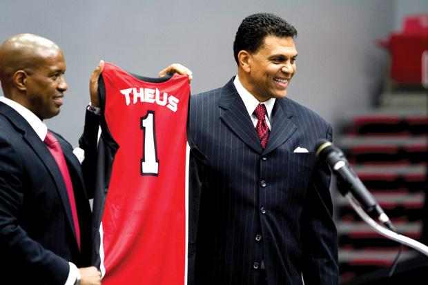 Athletic Director, Dr. Brandon Martin, welcomes the new men's basketball coach, Reggie Theus, to CSUN during a press conference at the Matadome. Theus, previous coach of the Sacramento Kings, succeeds Bobby Braswell following a 14-17 season. Photo credit by Charlie Kaijo / Senior Photographer