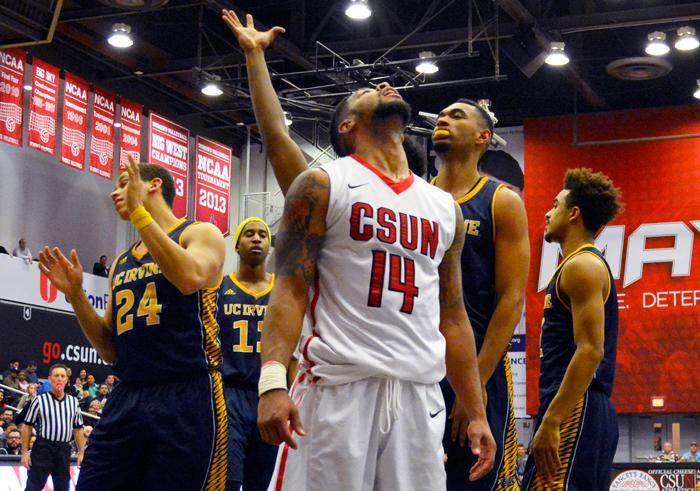 Junior Aaron Parks shows his emotions after making his lay-up while being fouled by the UC Irvine defense in the CSUN loss at The Matadome. (Patricia Perdomo / The Sundial)