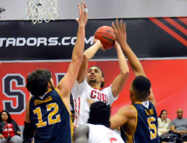 Senior forward Tre Hale-Edmerson closed out his career in the top 10 in blocks, assists, steals and rebounds in CSUN history. (File Photo / Patricia Perdomo / The Sundial)
