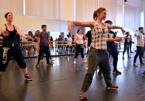 The Africana Studies and Kinesiology departments, in conjunction with the Los Angeles-based dance program GROOV3, held an annual hip-hop workshop on campus, Wednesday. (Patricia Perdomo/ The Sundial)