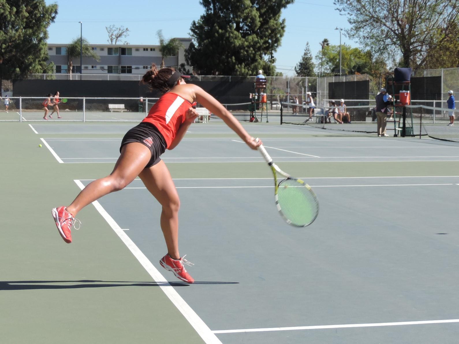 Junior Kristen Poei in full swing during her match against UC Riverside. Photo credit: Amanda Reveles