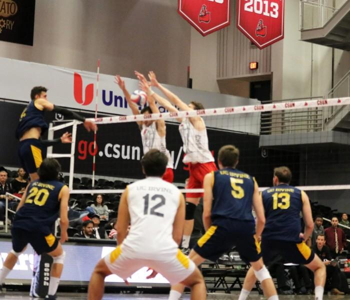 Both freshman setter Sam Porter (left) and freshman middle blocker Eric Chance (right) earn three blocks each and help the Matadors to win against UC Irvine Wednesday night at Matadome. (Kanako Miyazaki / The Sundial)