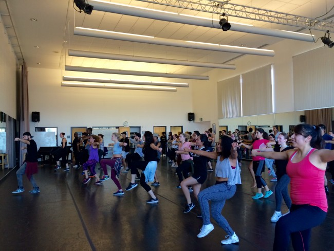 The Africana Studies and Kinesiology departments, in conjunction with the Los Angeles-based dance program GROOV3, held an annual hip-hop workshop on campus, Wednesday. (Lindsay Baffo/ The Sundial)