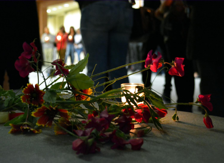 Flowers lay on floor