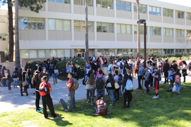Jerome Richfield Hall was the scene of an apparent fire drill on Wednesday March 9. Photo credit: James Fike