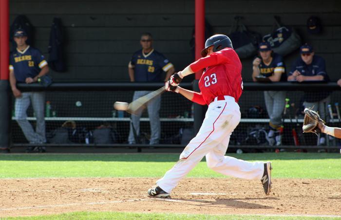 Right Fielder Jose Ruiz hits line drive against Northern Colorado. (Jose Aguilar / The Sundial)