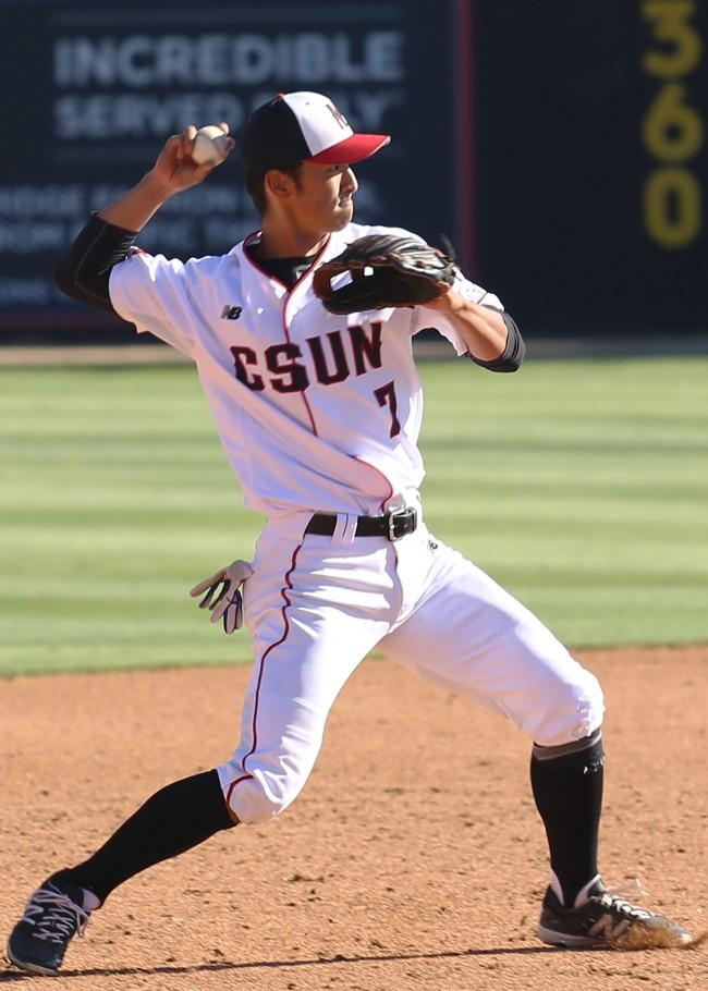 Yusuke Akitoshi, redshirt-senior short stop, throws out UCLA's Brett Stephens in the third, March 8, 2016. Akitohi also scored four runs for the Matadors.