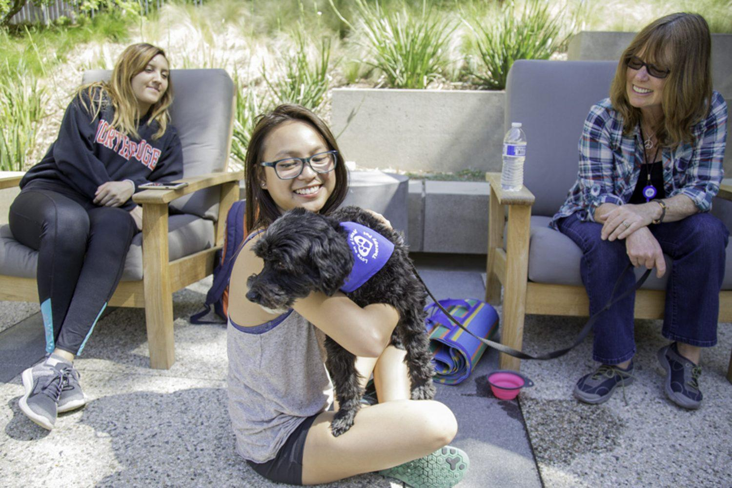 Senior+psychology+major+Nika+Lao+pets+a+therapy+dog+at+The+Oasis+Wellness+Center%2C+Tuesday+afternoon.
