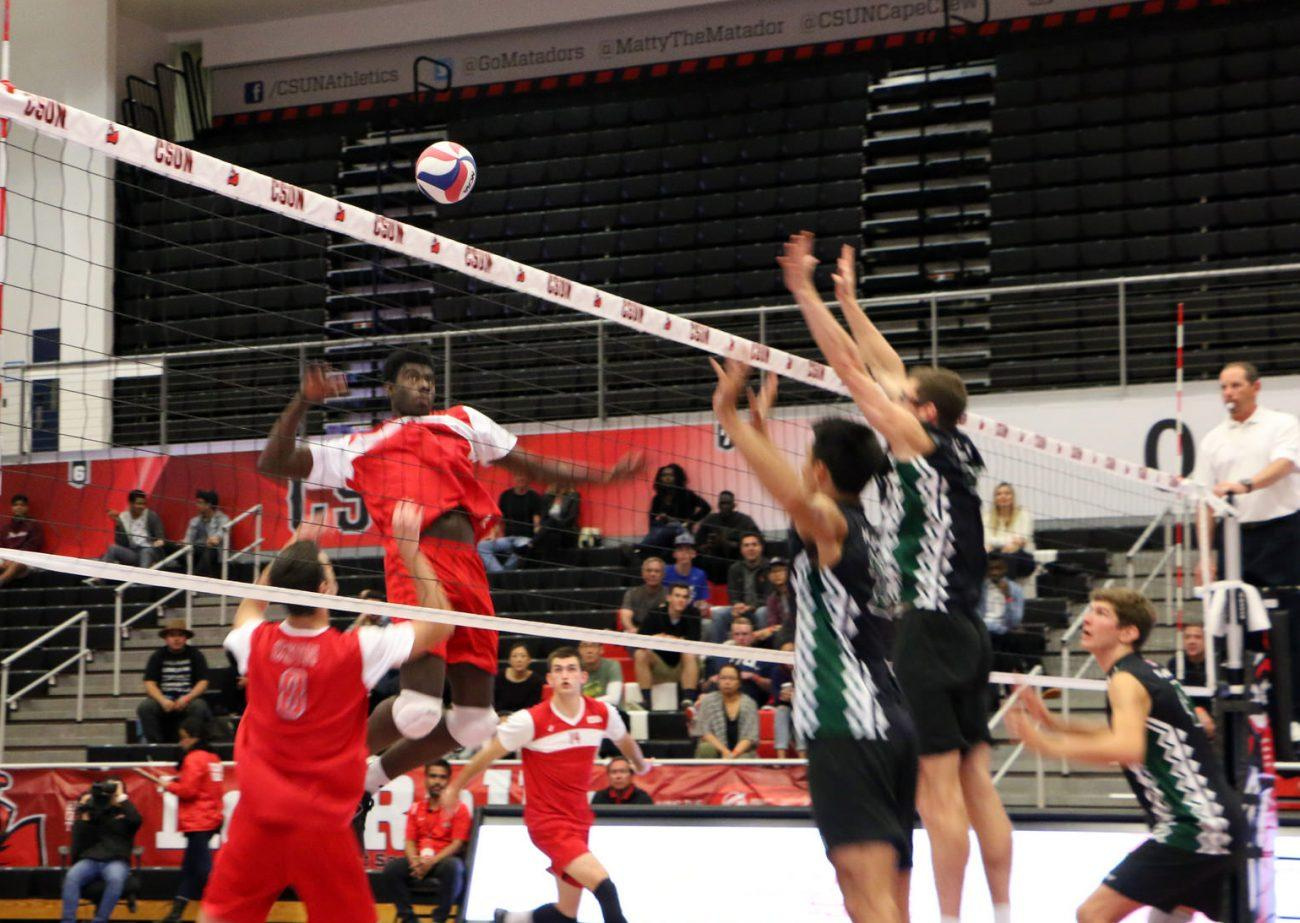 Josiah+Byers+goes+up+for+the+Spike+in+the+Matadors+loss+against+the+University+of+Hawaii+at+the+Matadome.%28Patricia+Carrillo+%2F+Contributor%29